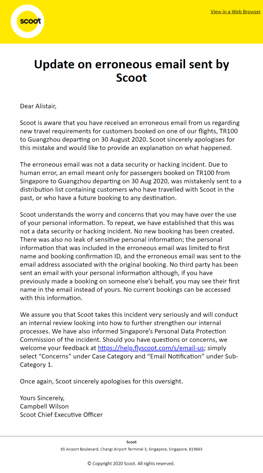 Scoot-apology email