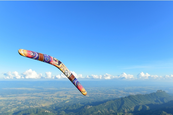 A colourful boomerang in flight