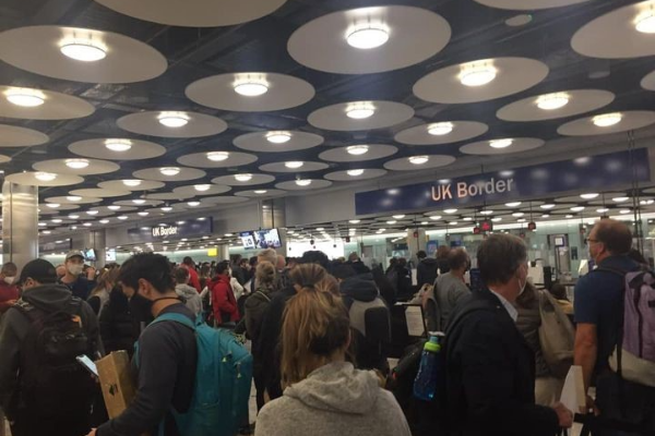 A snaking queue around Customs at Heathrow