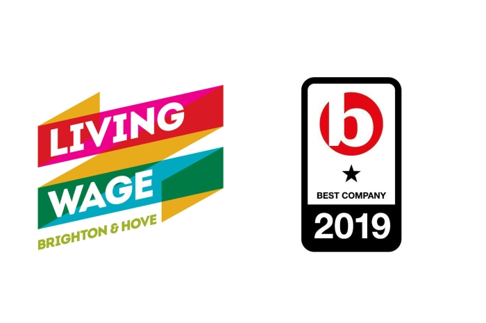 Living wage employer and best company 2019 logos
